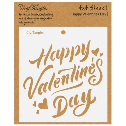 "CrafTangles 4""x4"" Stencil - Happy Valentines Day"