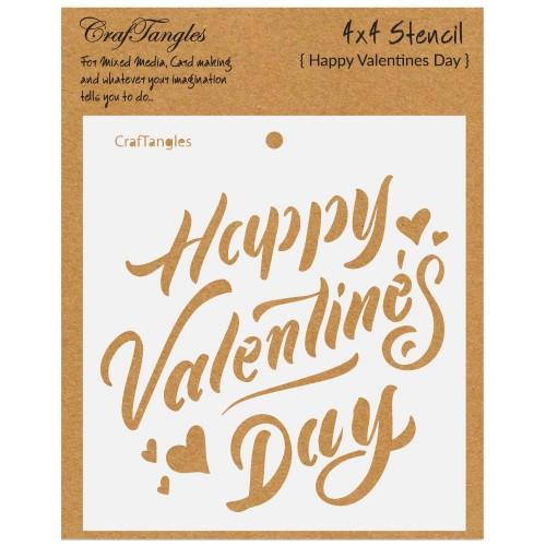 "CrafTangles 4""x4"" Stencil - Happy Valentines Day"