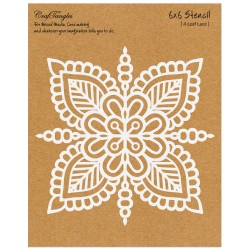 "CrafTangles 6""x6"" Stencil - 4 Leaf Lace"
