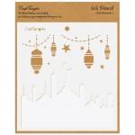 """CrafTangles 6""""x6"""" Create a scene Stencil - Eid Mubarak"""