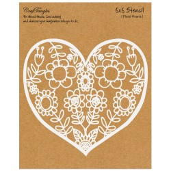 "CrafTangles 6""x6"" Stencil - Floral Heart"