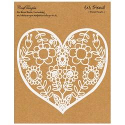 "CrafTangles 6""x6"" Stencil - Floral Heart"