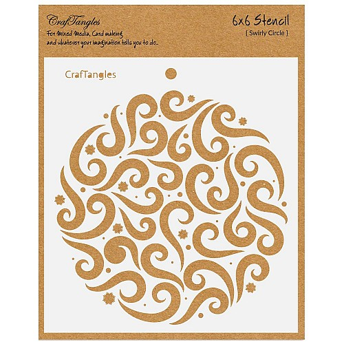"CrafTangles 6""x6"" Stencil - Swirly Circle"