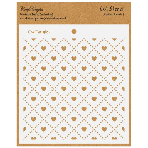 "CrafTangles 6""x6"" Stencil - Quilted Hearts"