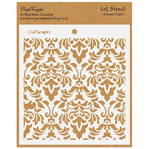 "CrafTangles 6""x6"" Stencil - Damask Delight"
