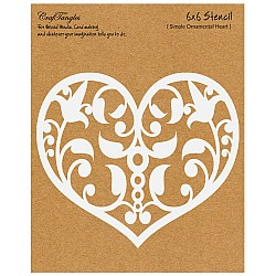 "CrafTangles 6""x6"" Stencil - Simple Ornamental Heart"