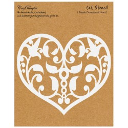 "CrafTangles 6""x6"" Stencil - Simple Ornamental Heart"