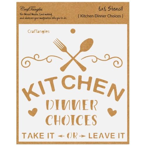 CrafTangles 6x6 Stencil - Kitchen - Dinner Choices