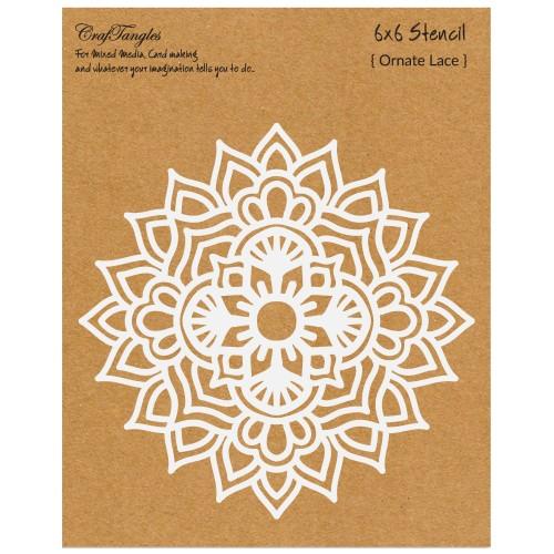 """CrafTangles 6""""x6"""" Stencil - Ornate Lace"""