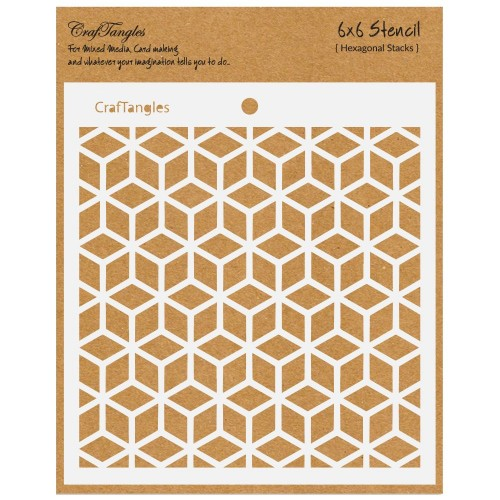 "CrafTangles 6""x6"" Stencil - Hexagonal Stacks"