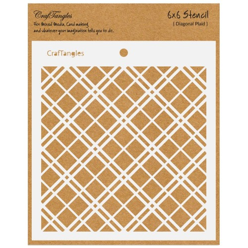 "CrafTangles 6""x6"" Stencil - Diagonal Plaid"
