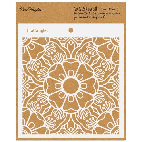 "CrafTangles 6""x6"" Stencil - Flower Power"