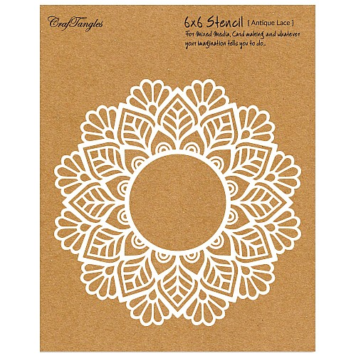 "CrafTangles 6""x6"" Stencil - Antique Lace"