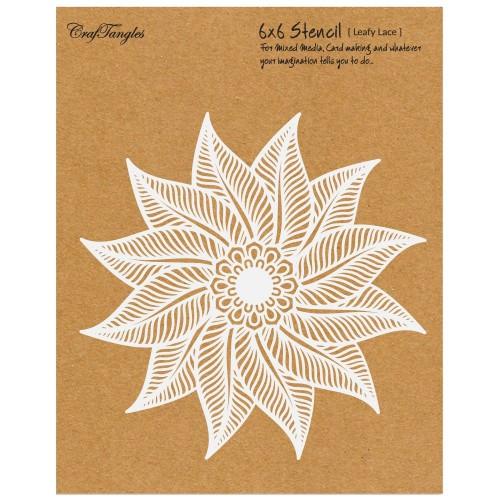 """CrafTangles 6""""x6"""" Stencil - Leafy Lace"""