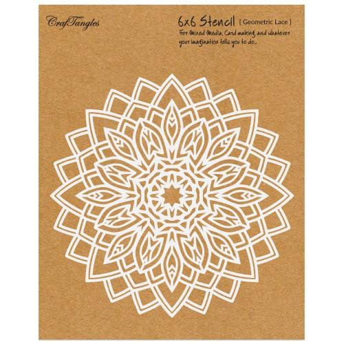 "CrafTangles 6""x6"" Stencil - Geometric Lace"