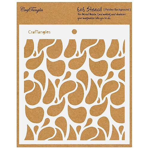 """CrafTangles 6""""x6"""" Stencil - Paisley Background"""