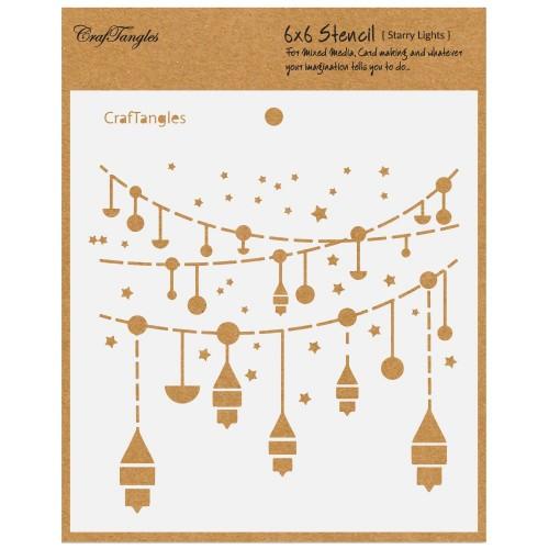 "CrafTangles 6""x6"" Stencil - Starry Lights"