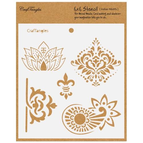 """CrafTangles 6""""x6"""" Stencil - Indian Motifs"""