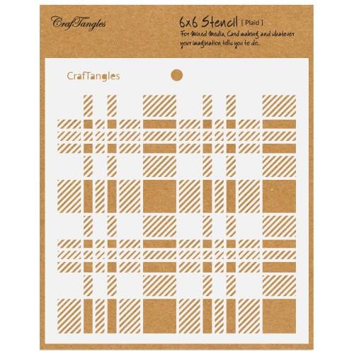 "CrafTangles 6""x6"" Stencil - Plaid"