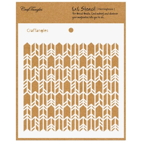 "CrafTangles 6""x6"" Stencil - Herringbone"