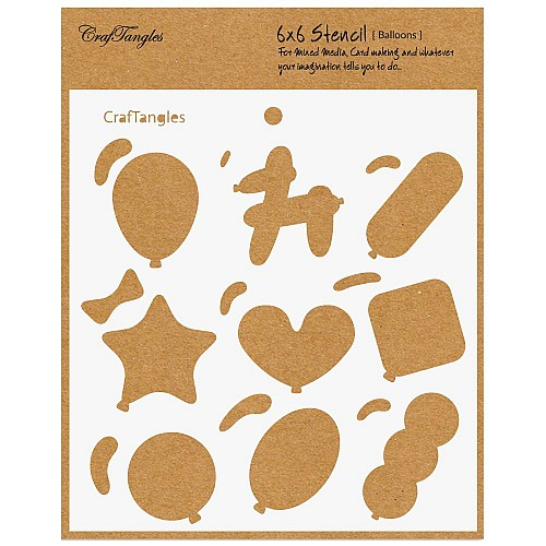 "CrafTangles 6""x6"" Stencil - Balloons"