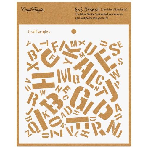 "CrafTangles 6""x6"" Stencil - Jumbled Alphabets"