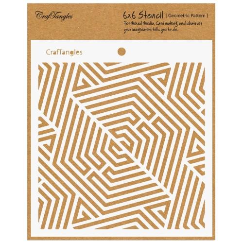 """CrafTangles 6""""x6"""" Stencil - Geometric Pattern"""