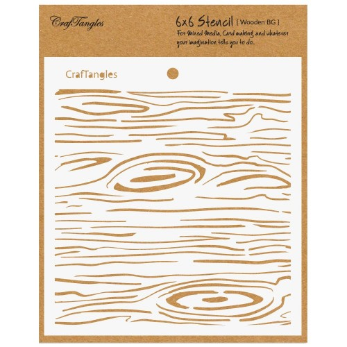 """CrafTangles 6""""x6"""" Stencil - Wooden Background"""