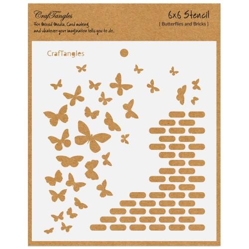 "CrafTangles 6""x6"" Stencil - Butterflies and Bricks"
