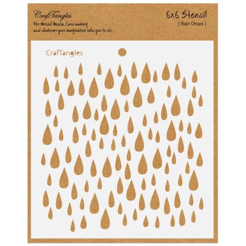 """CrafTangles 6""""x6"""" Stencil - Raindrops"""