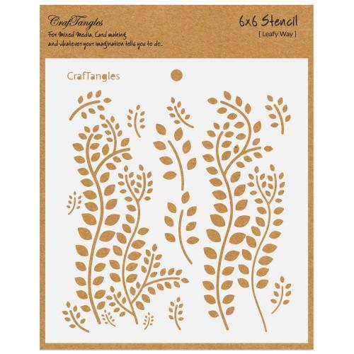 """CrafTangles 6""""x6"""" Stencil - Leafy Way"""