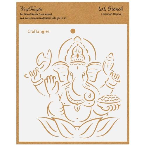 """CrafTangles 6""""x6"""" Stencil - Ganpati Bappa"""