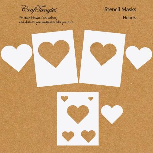 CrafTangles Stencil Masks - Hearts (Masking Stencils - Set of 6 stencils)