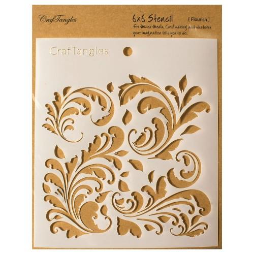"""Flourish - CrafTangles 6""""x6"""" Stencil"""