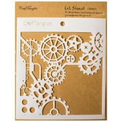 """Gears - CrafTangles 6""""x6"""" Stencil"""