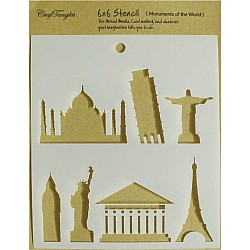 "CrafTangles 6""x6"" Stencil - Monuments of the World"