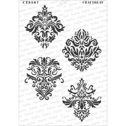 CrafTreat A4 Stencil - Damask Designs