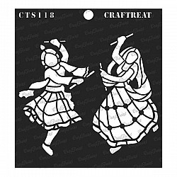 "CrafTreat 6""x6"" Stencil - Dandiya Couple"