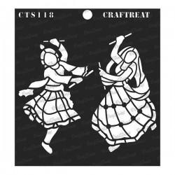 "CrafTreat 6""x6"" Stencil - Dandiya Couple"