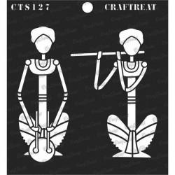 "CrafTreat 6""x6"" Stencil - Folk Musicians"