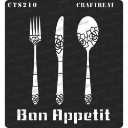 """CrafTreat 6""""x6"""" Stencil - Bon Appetit"""