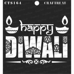 "CrafTreat 6""x6"" Stencil - Happy Diwali"