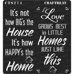 "CrafTreat 6""x6"" Stencil - Happy Home"