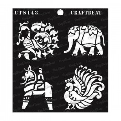 "CrafTreat 6""x6"" Stencil - Indian Motifs 2"