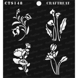"""CrafTreat 6""""x6"""" Stencil - Mini Floral Bunches"""
