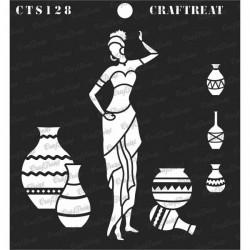 "CrafTreat 6""x6"" Stencil - Pose with Pot 1"