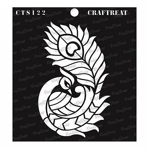 "CrafTreat 6""x6"" Stencil - Side Feathered Peacock"