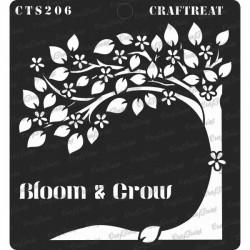 "CrafTreat 6""x6"" Stencil - Bloom and Grow"