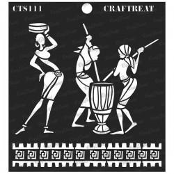 "CrafTreat 6""x6"" Stencil - Tribal Daily Chores"