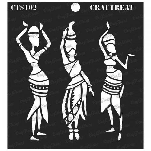 """CrafTreat 6""""x6"""" Stencil - Tribal Dancers"""